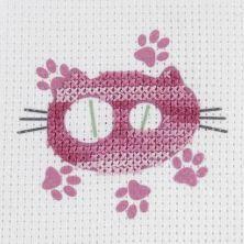 Kit punto de cruz Dmc niños gato rosa